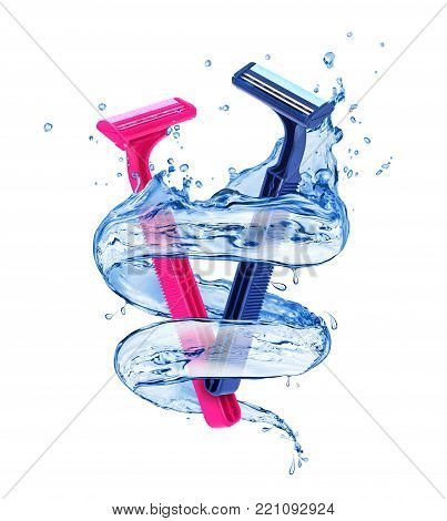 Pink lady shaver and blue shaver for men with splashes of water in a swirling shape