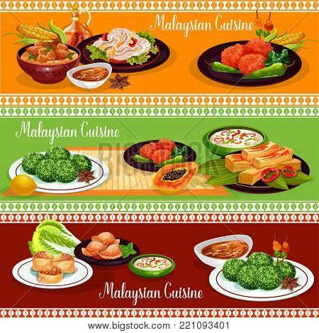 Malaysian cuisine restaurant banner of exotic asian dishes. Rice nasi lemak, served with vegetable and chilli sauce, chicken stew and meat pie, fried prawn pancake, rice coconut dessert and bean salad