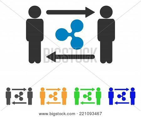 People Exchange Ripple icon. Vector illustration style is a flat iconic people exchange ripple symbol with gray, yellow, green, blue color versions. Designed for web and software interfaces.