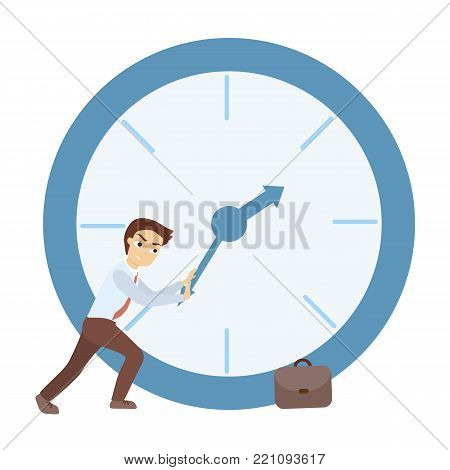 Time management concept. Man trying to delay time.