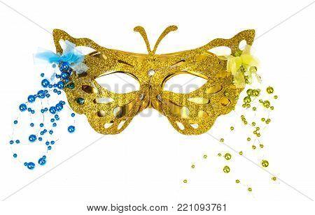 Elegant carnival mask for the Mardi Gras festival, isolated on white background. Studio Photo