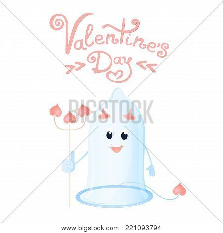 Funny condom with horns and a trident. Greeting card for Valentine's Day