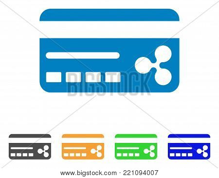 Ripple Banking Card icon. Vector illustration style is a flat iconic ripple banking card symbol with gray, yellow, green, blue color variants. Designed for web and software interfaces.