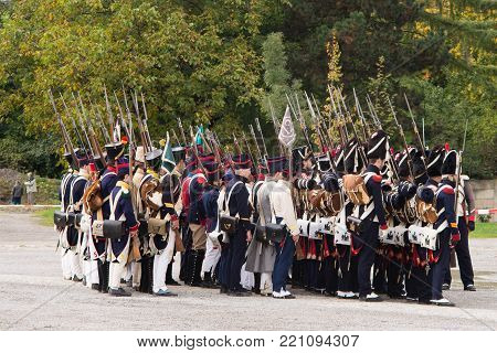 Olomouc Czech Rep. October 7th 2017 historical festival Olmutz 1813. Napoleonic soldiers stand at attention. Military muster.