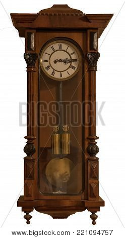 Grandfather clock in nice wooden box isolated, Czech republic