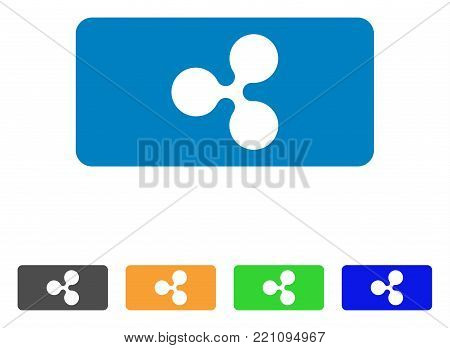 Ripple Bill icon. Vector illustration style is a flat iconic ripple bill symbol with grey, yellow, green, blue color variants. Designed for web and software interfaces.