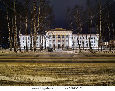 winter night view of former railways administration building in russian city kotlas