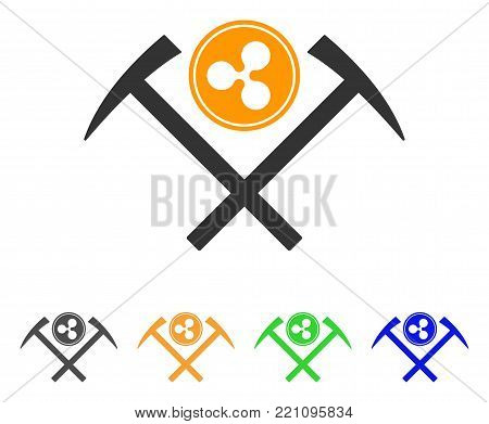 Ripple Coin Mining Hammers icon. Vector illustration style is a flat iconic ripple coin mining hammers symbol with gray, yellow, green, blue color variants. Designed for web and software interfaces.