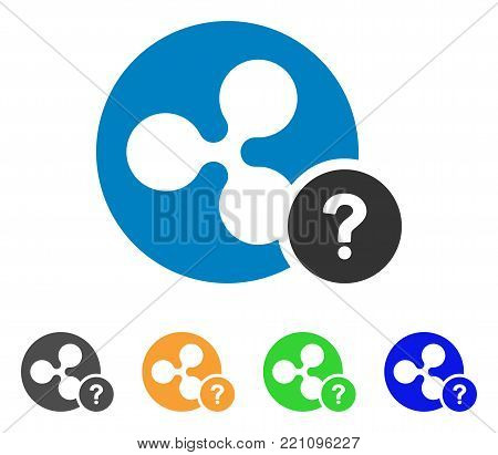 Ripple Coin Unknown Status icon. Vector illustration style is a flat iconic ripple coin unknown status symbol with grey, yellow, green, blue color variants. Designed for web and software interfaces.