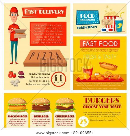 Fast food restaurant banner set with takeaway lunch and burger menu, pizza delivery and cinema cafe. Hamburger, hot dog and fries, soda, pizza, chicken nuggets and popcorn poster with delivery man