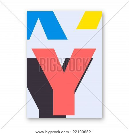 Letter Y poster. Cover for magazine, printing products, flyer, presentation, brochure or booklet. Vector illustration