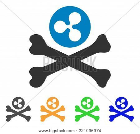Ripple Death icon. Vector illustration style is a flat iconic ripple death symbol with grey, yellow, green, blue color versions. Designed for web and software interfaces.