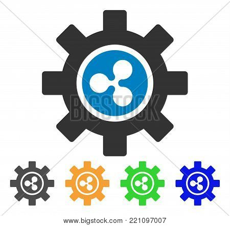 Ripple Development Gear icon. Vector illustration style is a flat iconic ripple development gear symbol with gray, yellow, green, blue color variants. Designed for web and software interfaces.