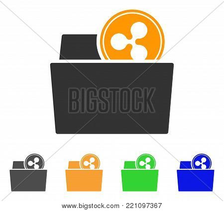 Ripple Folder icon. Vector illustration style is a flat iconic ripple folder symbol with gray, yellow, green, blue color versions. Designed for web and software interfaces.