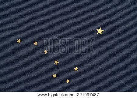 starry sky, big dipper constellation, the flag of Alaska, flat lay