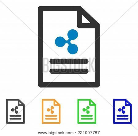 Ripple Invoice icon. Vector illustration style is a flat iconic ripple invoice symbol with grey, yellow, green, blue color versions. Designed for web and software interfaces.