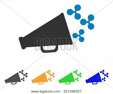 Ripple Megaphone icon. Vector illustration style is a flat iconic ripple megaphone symbol with grey, yellow, green, blue color versions. Designed for web and software interfaces.