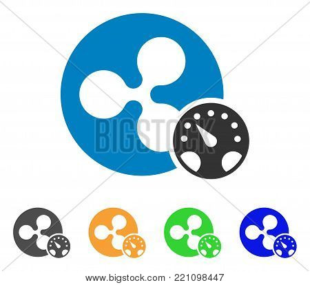 Ripple Meter icon. Vector illustration style is a flat iconic ripple meter symbol with gray, yellow, green, blue color versions. Designed for web and software interfaces.