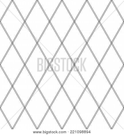 Seamless diamonds pattern. Geometric lattice texture. Vector art.