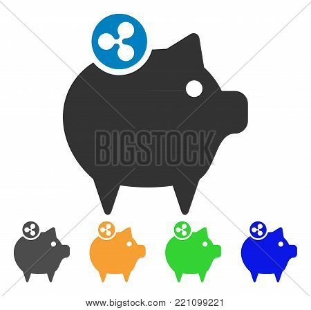 Ripple Piggy Bank icon. Vector illustration style is a flat iconic ripple piggy bank symbol with gray, yellow, green, blue color versions. Designed for web and software interfaces.