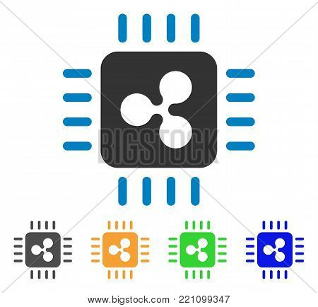 Ripple Processor icon. Vector illustration style is a flat iconic ripple processor symbol with gray, yellow, green, blue color versions. Designed for web and software interfaces.