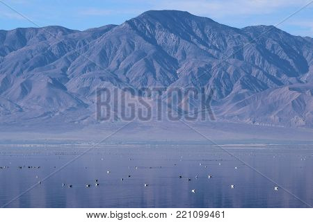 Low lying layer of mist above the tranquil Salton Sea, CA with barren mountains beyond taken in the California Desert