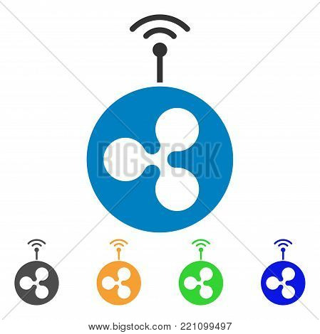 Ripple Radio Transmitter icon. Vector illustration style is a flat iconic ripple radio transmitter symbol with grey, yellow, green, blue color variants. Designed for web and software interfaces.
