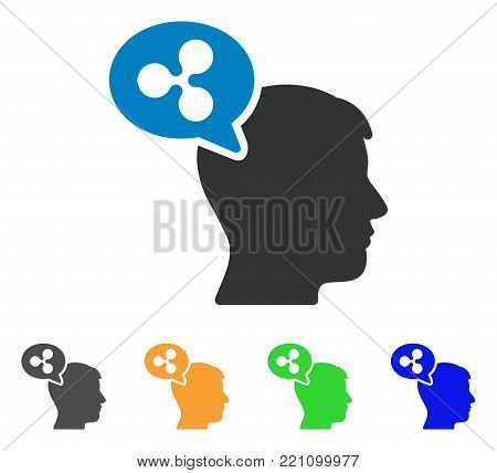 Ripple Thinking Balloon icon. Vector illustration style is a flat iconic ripple thinking balloon symbol with grey, yellow, green, blue color versions. Designed for web and software interfaces.