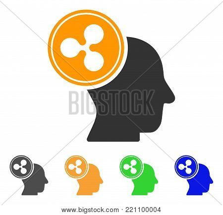 Ripple Thinking Head icon. Vector illustration style is a flat iconic ripple thinking head symbol with gray, yellow, green, blue color versions. Designed for web and software interfaces.
