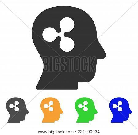 Ripple Thinking icon. Vector illustration style is a flat iconic ripple thinking symbol with grey, yellow, green, blue color variants. Designed for web and software interfaces.