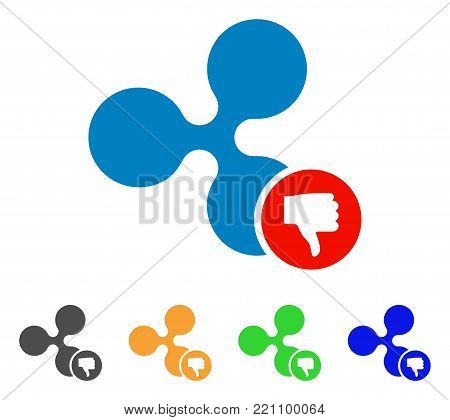 Ripple Thumb Down icon. Vector illustration style is a flat iconic ripple thumb down symbol with gray, yellow, green, blue color versions. Designed for web and software interfaces.