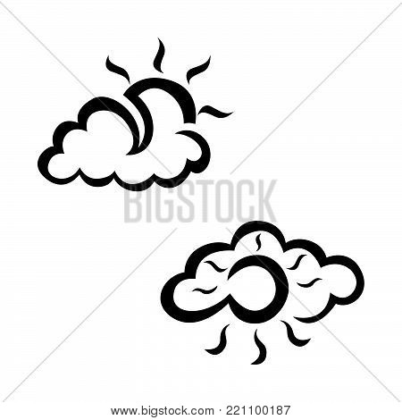 Cloudly and sunny weather sketch icon set. Hand drawn weather icon set. Weather vector icon set. Weather icon set isolated on white background.