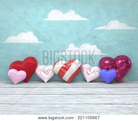 A 3D illustration of seven diverse hearts against a painted sky background; high-resolution 3D rendering