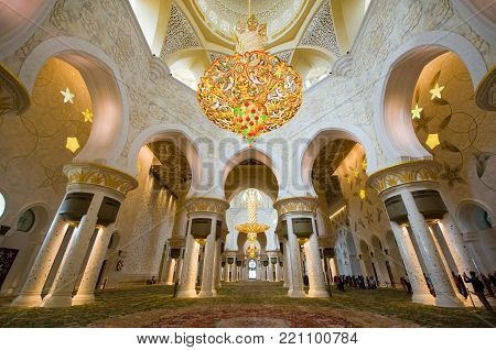 ABU DHABI, UNITED ARAB EMIRATES - DEC 28, 2017: Interior of the Sheikh Zayed Mosque in Abu Dhabi. It is the largest mosque in the country.