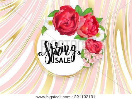 Blooming bouquet, floral vector frame with peony rose, cherry flowers, strawberry flowers, green leaves and buds. Crescent shape bouquet. All elements are isolated and editable. Spring sale text. Marble background