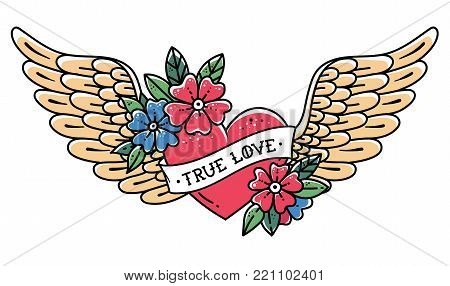 Hand drawn tattoo flying heart with wings. Tattoo heart with ribbon and flowers. Tattoo with phrase TRUE LOVE.