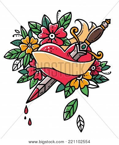 Heart pierced with dagger. Heart with ribbon and flowers. Heart bleeding. Retro tattoo. Old school retro vector illustration.