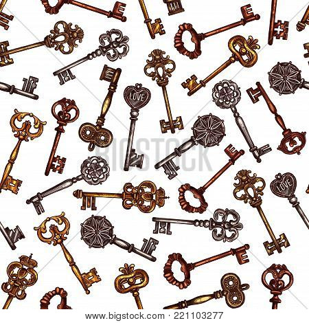 Vintage keys seamless pattern of vector old brass or metal bronze lock keys from antique or medieval royal castle with ornate bow and wards