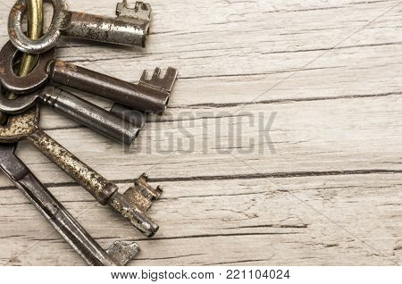 Old prison skeleton keys close up shot
