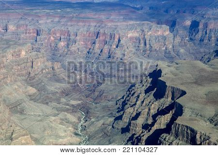An aerial view of the West Rim of the Grand Canyon in Arizona