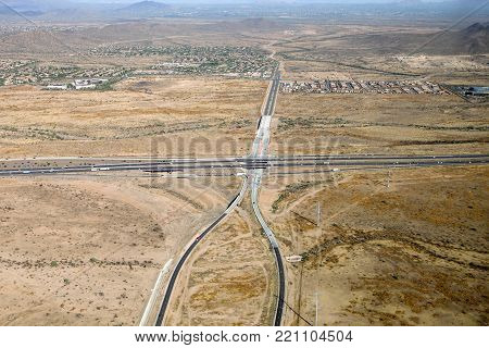 Man made lines in the sand stretch across the Phoenix desert