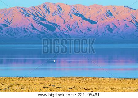 Rural desolate desert landscape with a lake and barren mountains beyond taken at the Salton Sea, CA during sunset