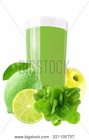 Fresh Green Juices Over White Background