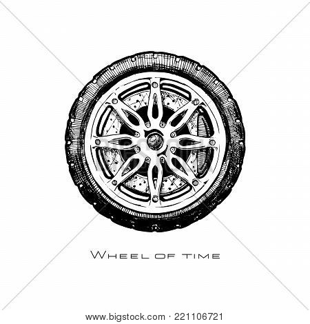 Wheel of time. modern alloy wheel, ink hand drawn illustration.