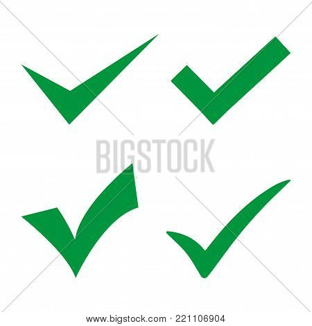 Green sign affirmed on a white background