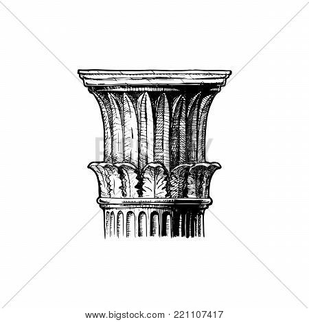 Corinthian order. Vector hand drawn illustration of classical capital. Illustration in vintage engraving style.