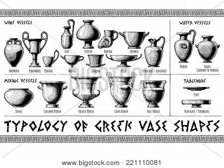 Typology of Greek vase shapes. Wine, mixing, water vessels and tableware. Illustration in vintage engraving style.