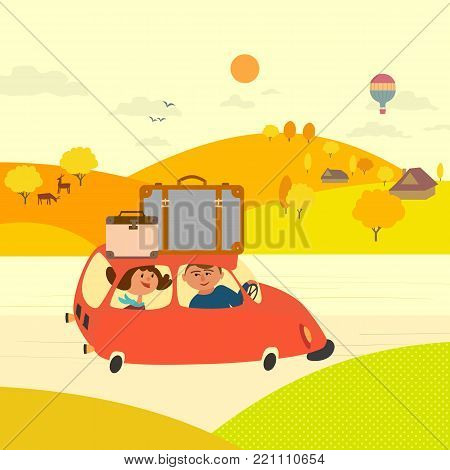 Travel by car concept. Young happy couple tripping outside, drive car by rural road to village community. Touring trip by vehicle. Cute fancy cartoon colordul landscape background. Vector illustration