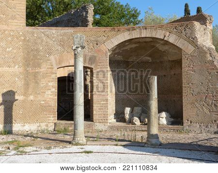 The ruins and remains of an ancient Roman city of Lazio - Italy