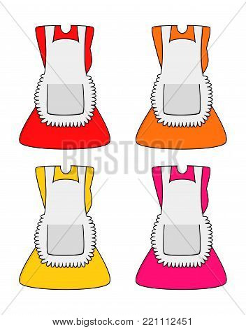 cartoon dress with pinafore set isolated on white background.